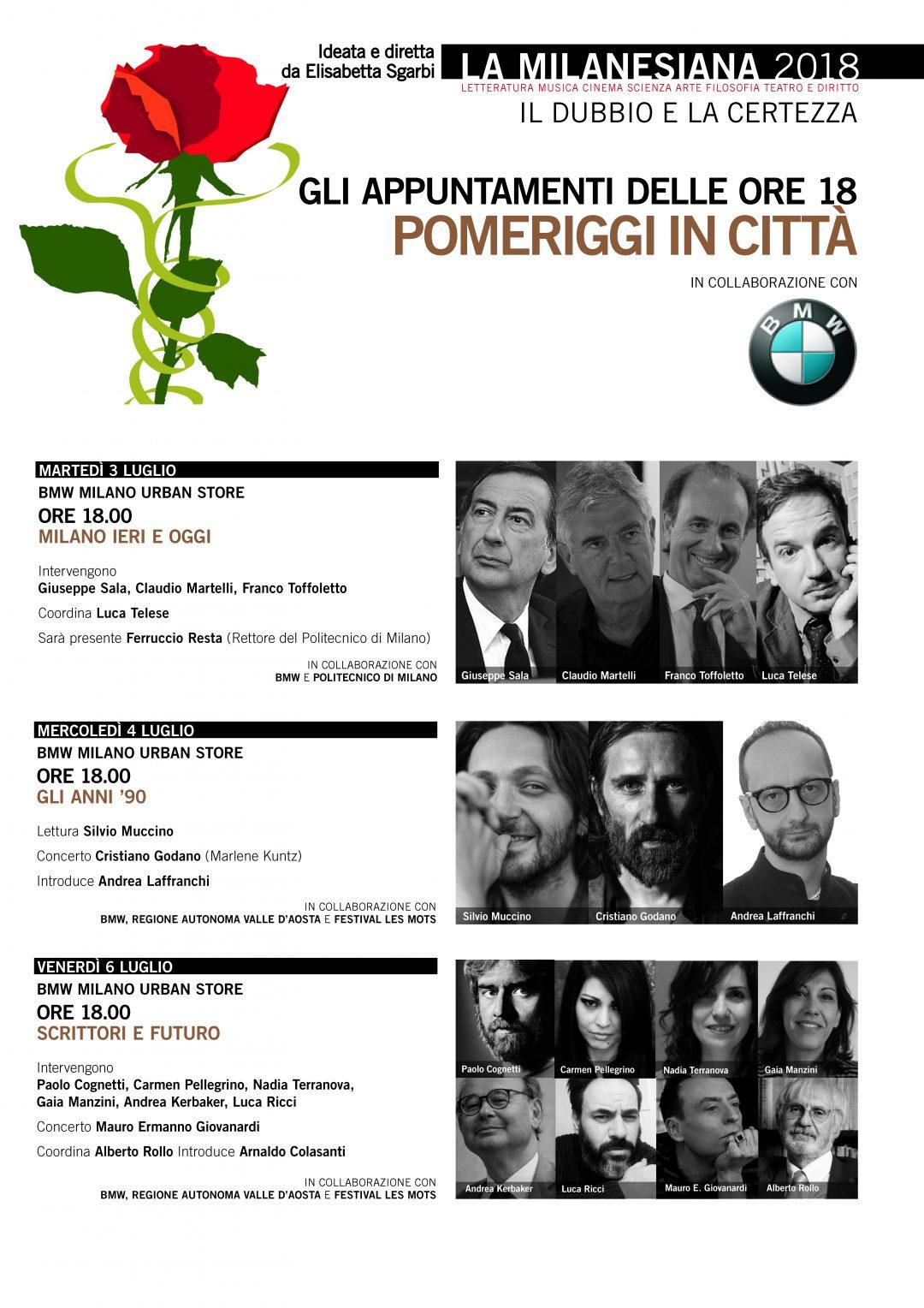 Tutti gli appuntamenti della Milanesiana presso il BMW Milano Urban Store di via De Amicis 20/22.